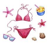 Encalhe o material, grupo do curso, objetos da aquarela das férias: biquini, shell, óculos de sol, flor do plumeria, ice0cream e  ilustração stock
