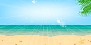 Encalhe o vetor do fundo da paisagem do sol da água da areia do mar foto de stock