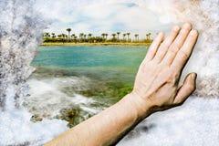 Encalhe a paisagem limpada dentro do vidro de teste padrão de Frost Foto de Stock