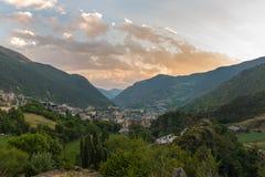 Encamp, Andorra in Summer. Sunset in Encamp, Andorra in Summer Stock Photos