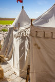 Encampment. A picturesque medieval tent during a medieval fair in Italy stock photo