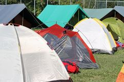 Encampment of tents in a soccer field Royalty Free Stock Photos