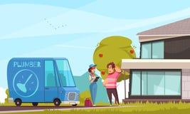 Encanador Arriving Outdoor Illustration ilustração do vetor
