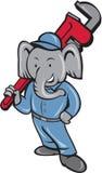Encanador Monkey Wrench Cartoon do elefante Imagens de Stock