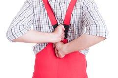 Encanador que tem a dor nas costas no conceito lombar da área Fotografia de Stock