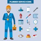 Encanador Service Icon Set Imagem de Stock Royalty Free