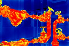 Encanamento da imagiologia térmica fotos de stock royalty free
