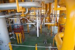 Encanamento da plataforma petrolífera e sistema de transferência da pressão Imagem de Stock