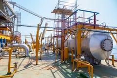 Encanamento da plataforma petrolífera e sistema de transferência da pressão Foto de Stock Royalty Free