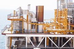 Encanamento da plataforma petrolífera e sistema de transferência da pressão Fotos de Stock