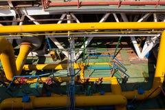 Encanamento da plataforma petrolífera e sistema de transferência da pressão Fotos de Stock Royalty Free