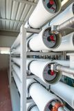 Encanamentos em uma planta de tratamento da água Fotografia de Stock