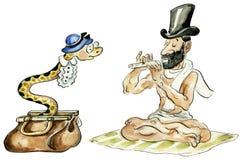 Encantador de serpiente y su serpiente stock de ilustración