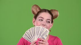Encantan las cuentas de papel y la de las aspiraciones adolescentes Pantalla verde Cierre para arriba metrajes