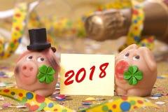 Encanto afortunado dulce con la hoja del trébol por el Año Nuevo 2018 Fotografía de archivo libre de regalías