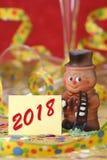 Encanto afortunado dulce por el Año Nuevo 2018 Imagen de archivo libre de regalías