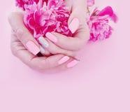 Encanto f?mea da pe?nia da flor do estilo do tratamento de m?os das m?os em um fundo cor-de-rosa fotos de stock