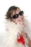 Encanto joven adolescente con la boa de pluma 1a Foto de archivo libre de regalías