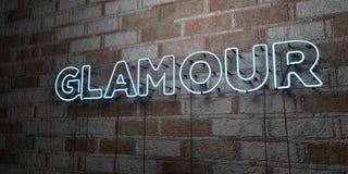 ENCANTO - Señal de neón que brilla intensamente en la pared de la cantería - 3D rindió el ejemplo común libre de los derechos Imagenes de archivo