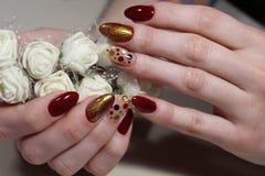 Encanto vermelho do projeto do tratamento de mãos com um teste padrão bonito Foto de Stock
