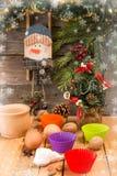 Encantos del Año Nuevo de la Navidad de la preparación Ingredientes y día de fiesta Imágenes de archivo libres de regalías
