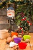 Encantos del Año Nuevo de la Navidad de la preparación Ingredientes y día de fiesta Foto de archivo
