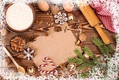 Encantos del Año Nuevo de la Navidad de la preparación Ingredientes y día de fiesta Fotos de archivo libres de regalías