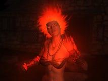 Encantos del fuego del castin de la mujer del mago Foto de archivo libre de regalías