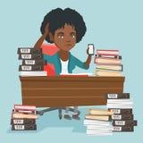 Encargado afroamericano de la desesperación que trabaja en oficina stock de ilustración