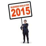 Encargado con las metas de negocio para 2015 Foto de archivo libre de regalías
