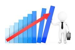 Encargado Concept de la crisis control del hombre de negocios 3D un gráfico del crecimiento 3D r Foto de archivo libre de regalías