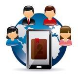 Encargado de contacto app Imagen de archivo libre de regalías