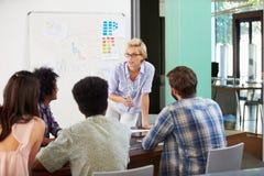 Encargado de sexo femenino Leading Brainstorming Meeting en oficina imagenes de archivo