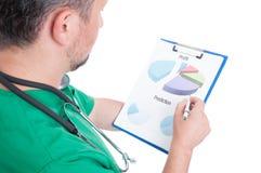 Encargado del hospital que analiza cartas del beneficio Foto de archivo libre de regalías