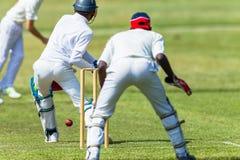Encargado del wicket del bateador del jugador de bolos de la acción del grillo Imagenes de archivo