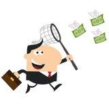 Encargado feliz Chasing Flying Money con una red Estilo plano del diseño Imágenes de archivo libres de regalías