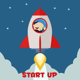 Encargado Launching Rocket To The Sky stock de ilustración