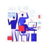 Encargado polivalente Hombre de negocios en diversa acción de negocio que soluciona tareas urgentes Concepto del vector de la ges ilustración del vector