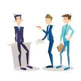 Encargado Set, carácter del hombre de negocios de Full Length Cartoon del hombre de negocios Fotos de archivo