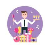 Encargado Surrounded del evento por los objetos del evento y del partido Gestión del evento y ejemplo de la agencia del evento Imagen de archivo libre de regalías