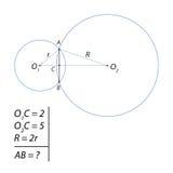 Encargue para calcular el acorde total de dos círculos ilustración del vector