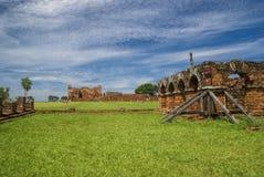 Encarnacion en jesuit ruïnes in Paraguay Stock Fotografie