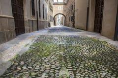 Encarnacion gata på den medeltida gamla staden av Plasencia, Caceres, S Fotografering för Bildbyråer