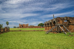 Encarnacion i jesuit ruiny w Paraguay Fotografia Stock