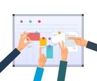 Encarregue o planeamento, os trabalhos de equipa e as soluções, multitarefa, planeamento empresarial, controle do trabalho ilustração royalty free