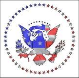 Encart de bannière étoilée dans l'Américain Eagle Icon Images libres de droits