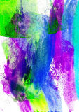 The encaustic background is drawn with wax crayons, colorful ima Stock Photo