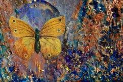 Gouden Vlinder en Textuur Stock Foto's