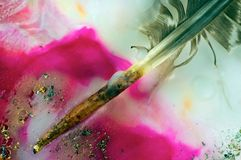 Quill and Fuchsia Royalty Free Stock Images