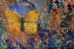 Golden Butterfly and Texture. Encaustic and mixed media painting by artist Kim McCarthy stock photos